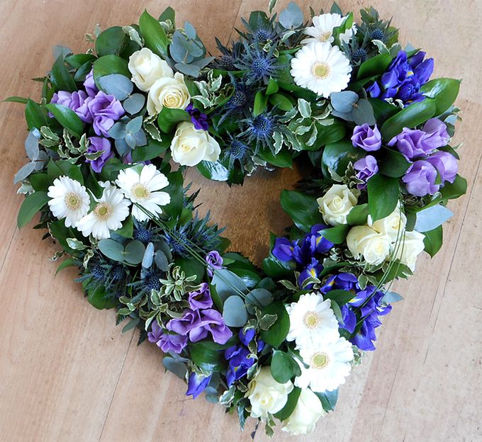 Blue & Lilac Cluster Funeral Heart