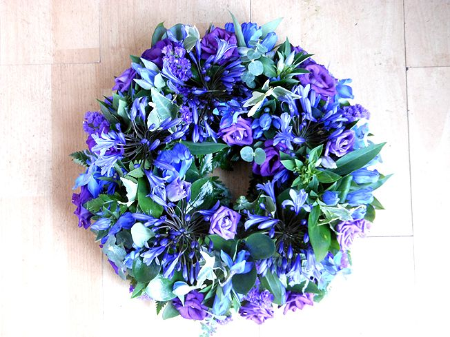 Blue Open Funeral Wreath