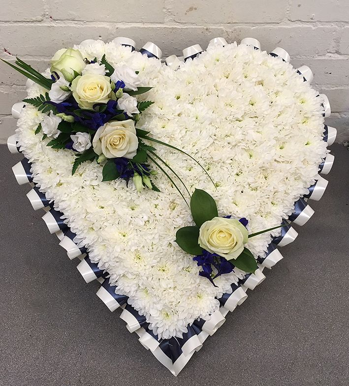 Blue & White Funeral Heart