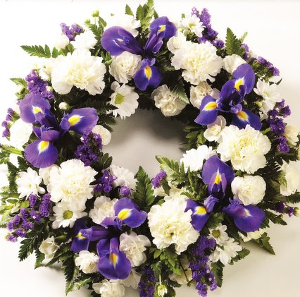 Blue & White Open Funeral Wreath