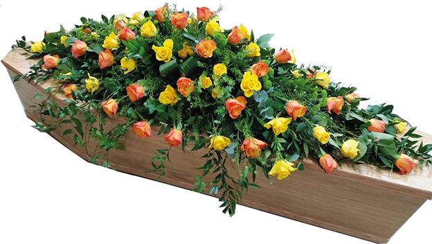Bright Roses Funeral Coffin Spray