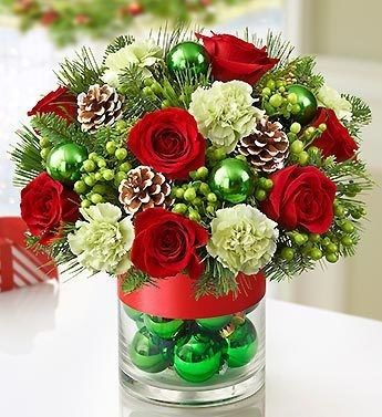Blossom Florists Christmas Flowers lovely Bauble Vase Arrangement
