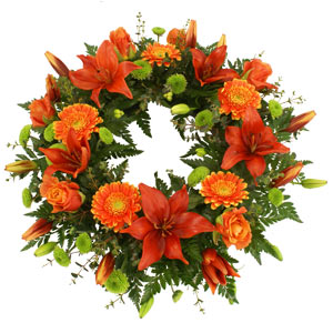 Gerbera & Lily Open Funeral Wreath