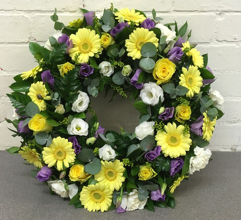 Lemon & Lilac Funeral Wreath