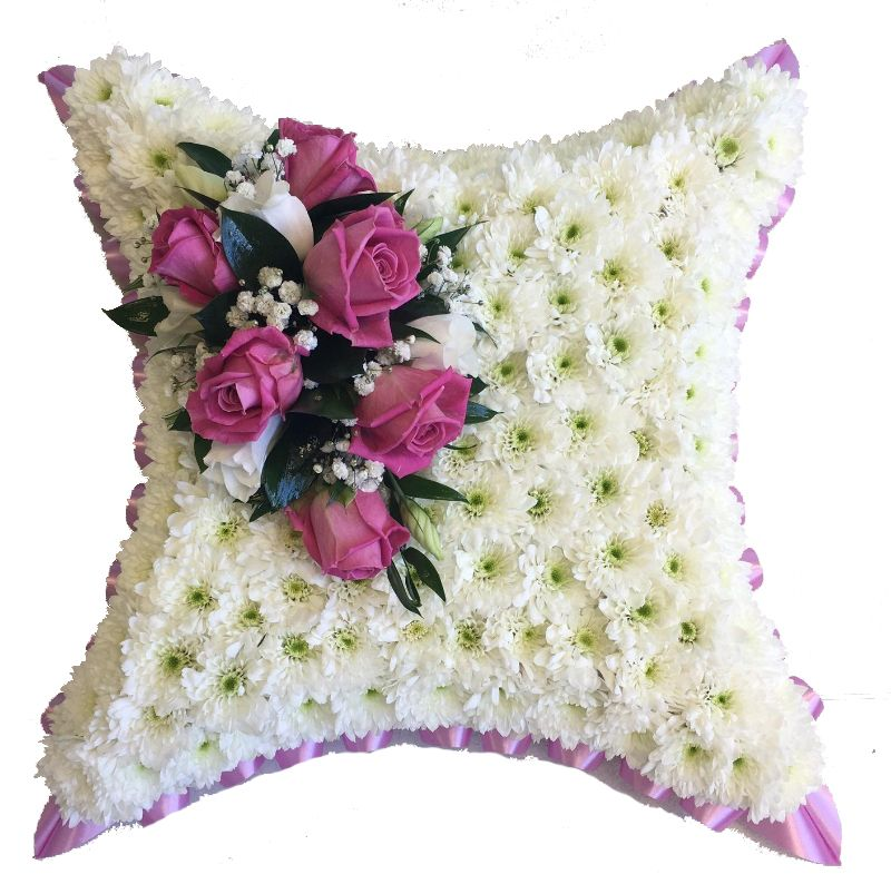 Pink Funeral Flower Cushion