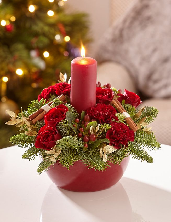 Red Candle Arrangement|Essex Florist with free delivery