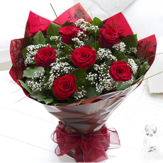 Six Red Roses Hand-tied