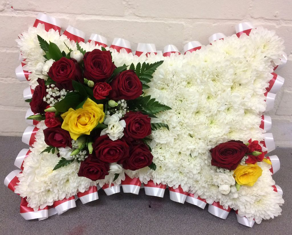 Team Colours Funeral Pillowblossom Florists For Funeral Flowers In