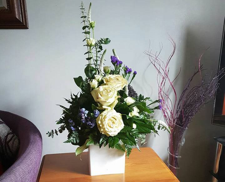 Vase flowers for reception area
