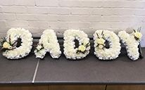 Daddy Funeral flower letters wreaths. Generally sent by children to say goodbye to their daddy