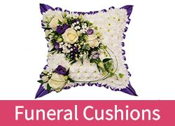 Wonderfully created funeral flowers cushions made by our specialist funeral florists for delivery in Essex. These cushions are made from flowers in oasis and can be sent to the crematorium or undertakers