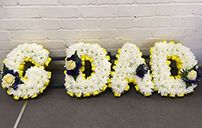 GDAD funeral flowers letters. An abbreviation for Gdad funeral wreath