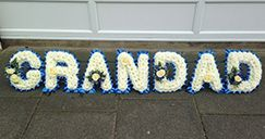 Grandad funeral wreath. Funeral letters for a Grandad sent by children to celebrate their Grandad life. Wreath for Grandad