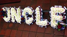 Uncle Funeral Flowers Letters. For Chelmsford Braintree and Witham delivery to the crematorium . Funeral letters are around 30cm and can be made in a variety of colours